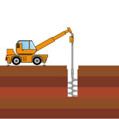 オーガーによる掘削