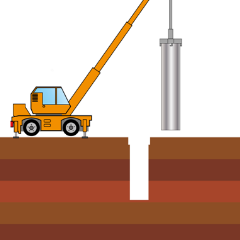 施工機に鋼管をセット