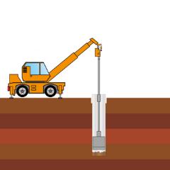 鋼管内の土砂のくみ上げ